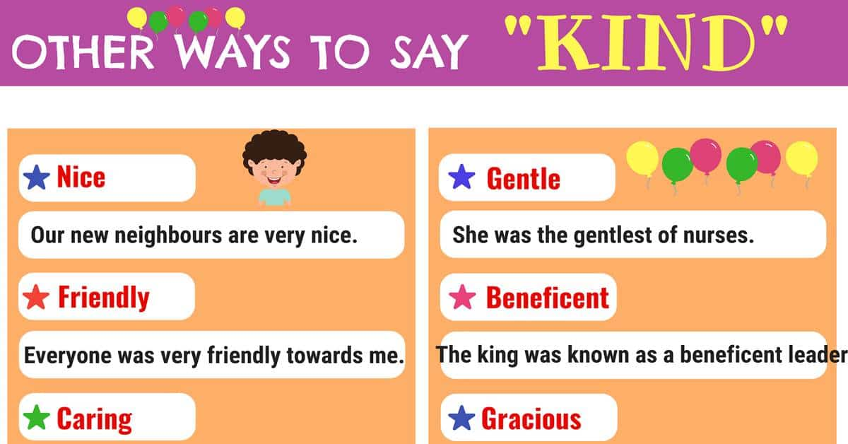 KIND Synonyms: List of 15+ Synonyms for KIND - 7 E S L