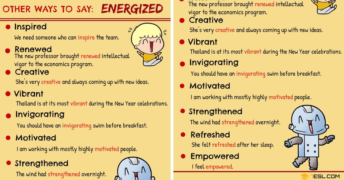 ENERGIZED Synonym: 9 Synonyms for Energized in English 1