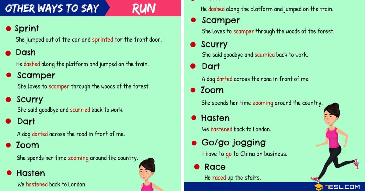 Run Synonym List Of 100 Synonyms For Run In English 7 E S L