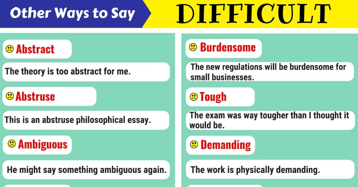 Difficult Synonym: List of 110+ Synonyms for Difficult 1