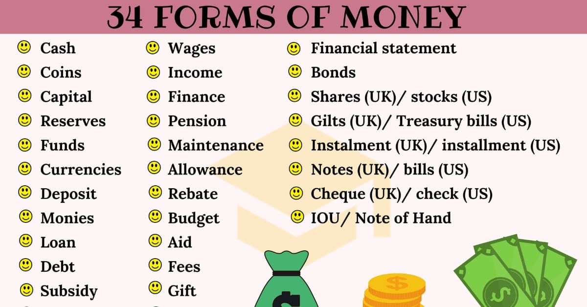 Money Synonyms: 34 Different Forms of Money You Should Know 1