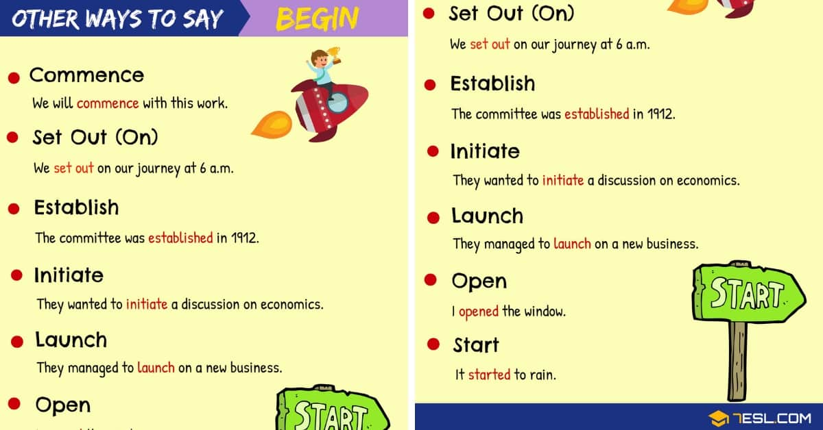 BEGIN Synonym: List of 90+ Synonyms for Begin in English 1