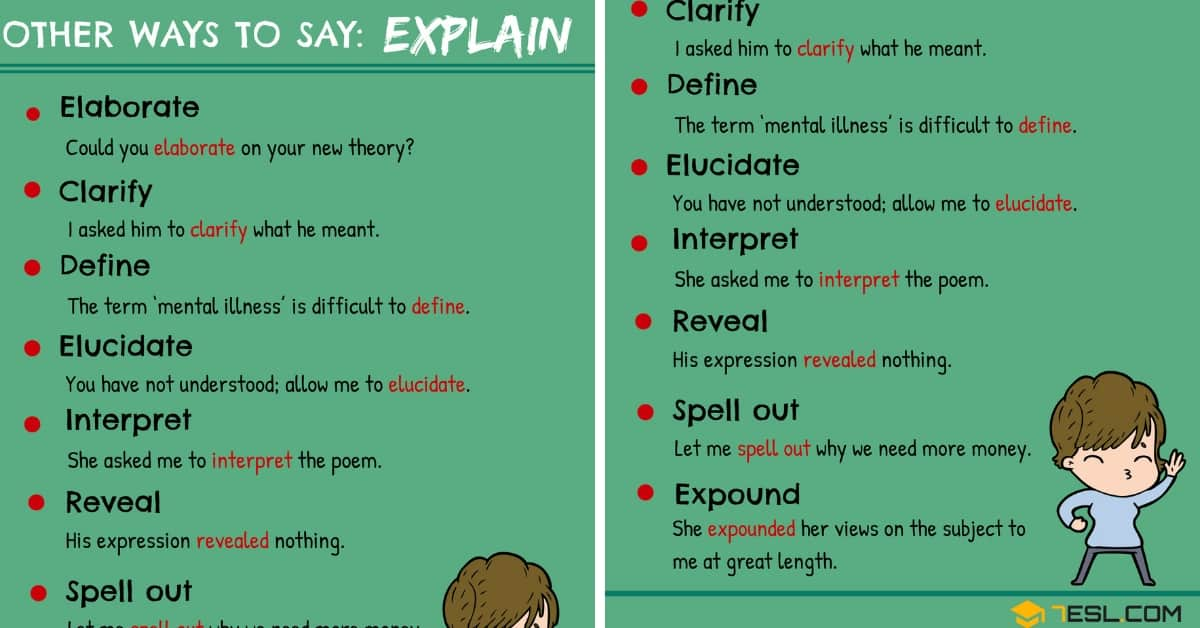 EXPLAIN Synonym! 9 Synonyms for Explain in English 5