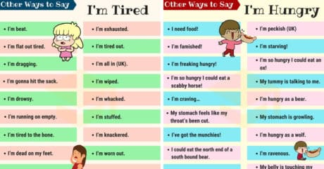 Other Ways to Say I'm Hungry and I'm Tired 3