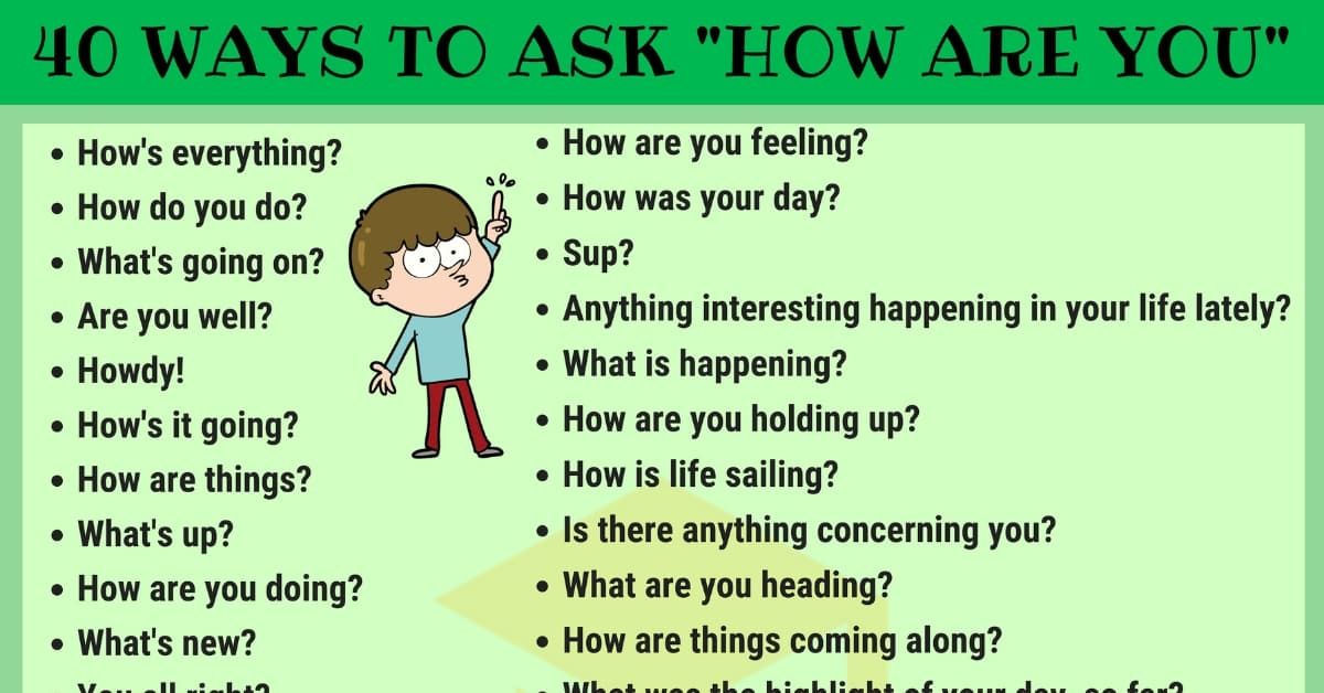 "40 Other Ways To Ask ""How Are You"" in English 1"