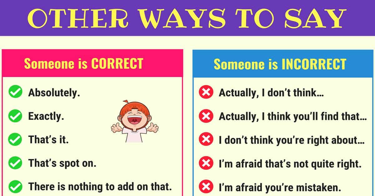 Different Ways to Say Someone is Correct or Incorrect 3