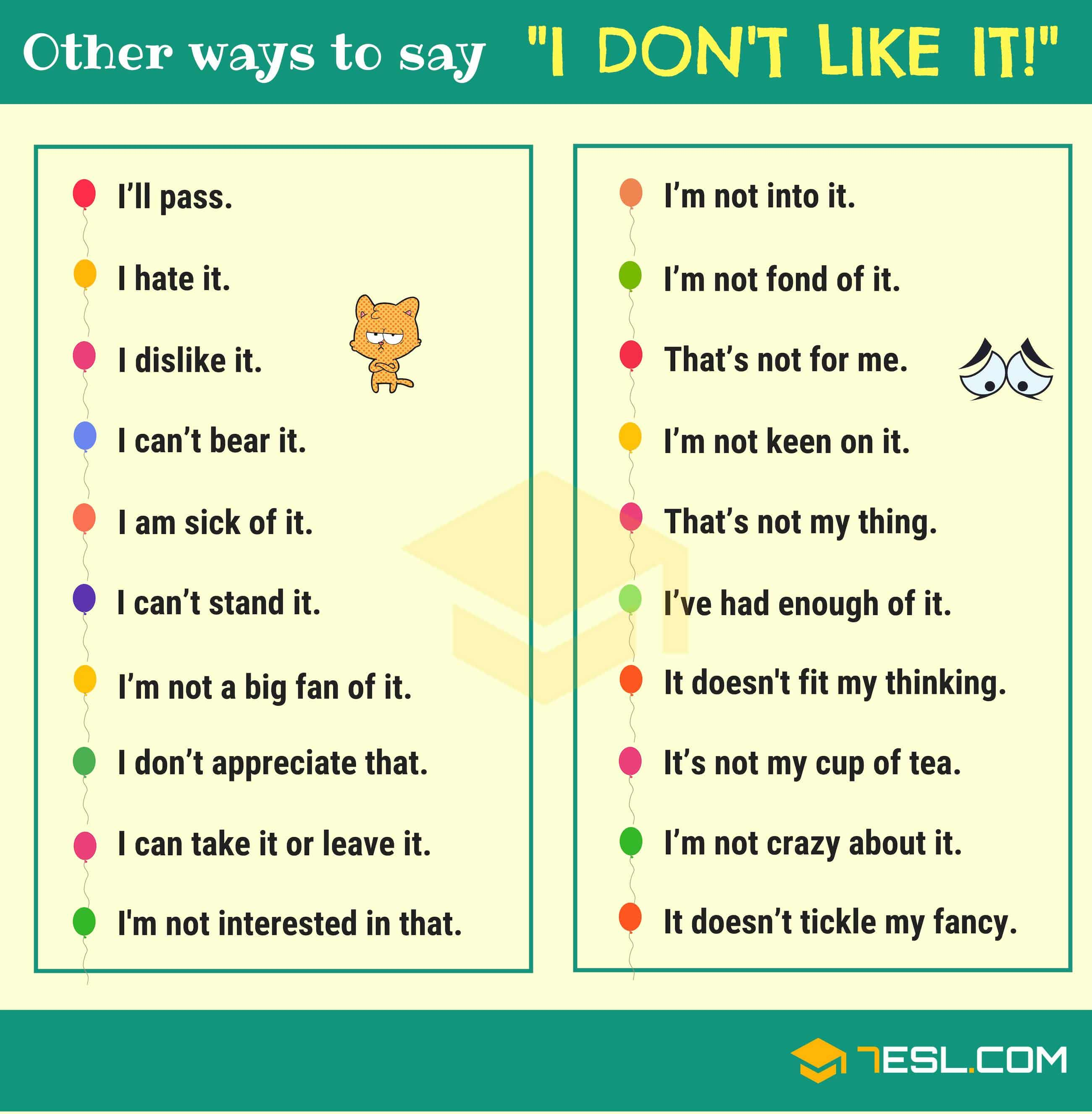 Different Ways to Say I Like It or I Don't Like It