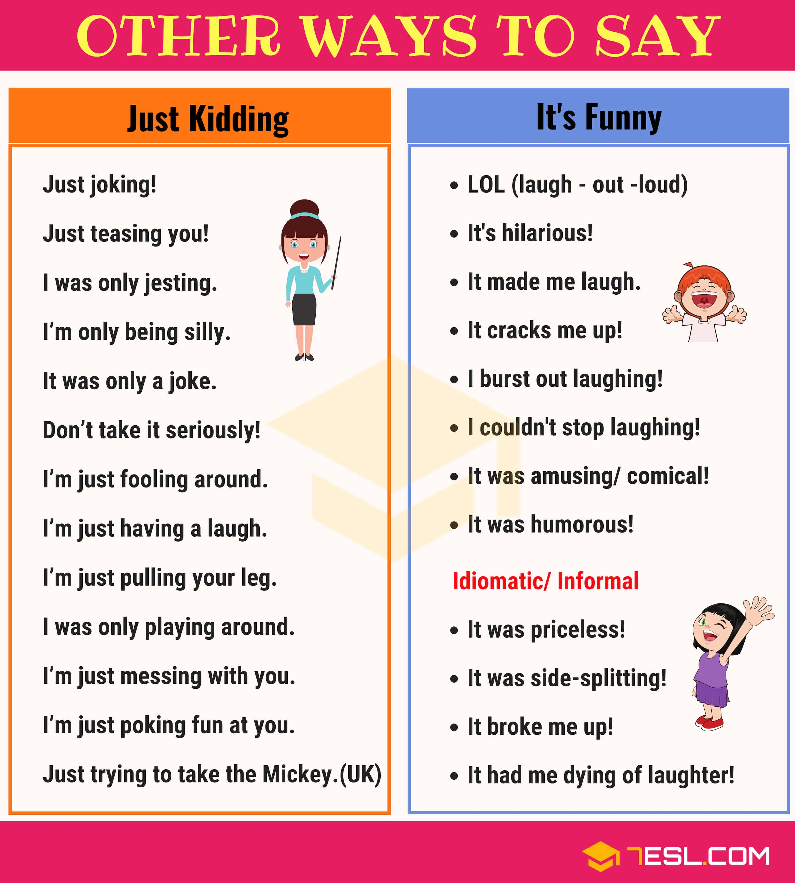 "Other Ways to Say ""Just Kidding"" and ""It's Funny"""
