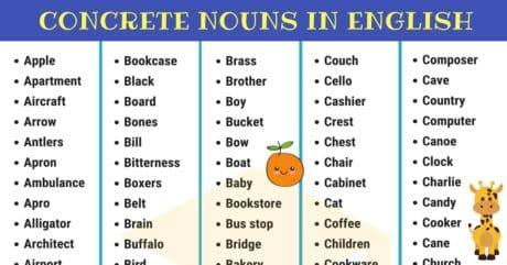 Concrete Nouns: Useful List of 400+ Concrete Nouns 1