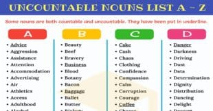List Uncountable Nouns