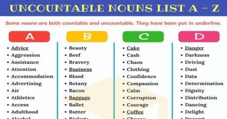 List Uncountable Nouns