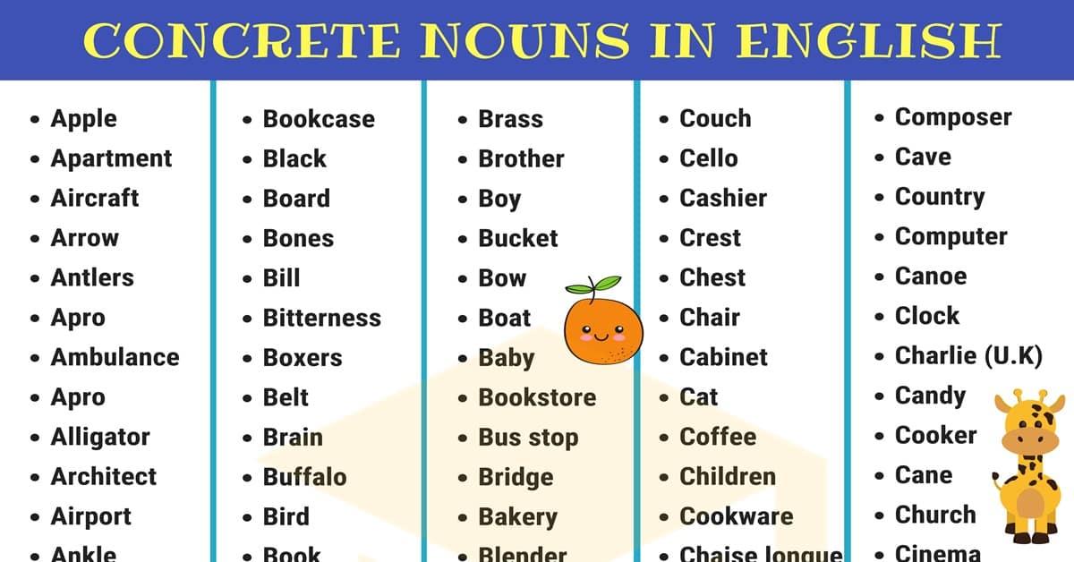 Concrete Nouns List