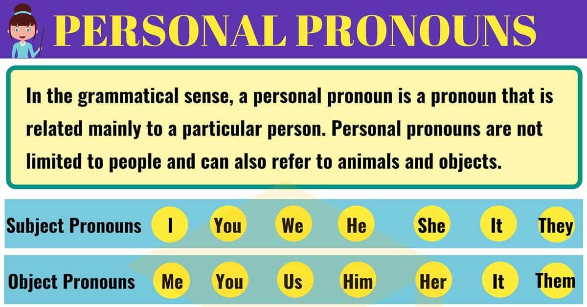 Personal Pronouns: Definition, Examples Of Subject Pronouns & Object  Pronouns - 7 E S L