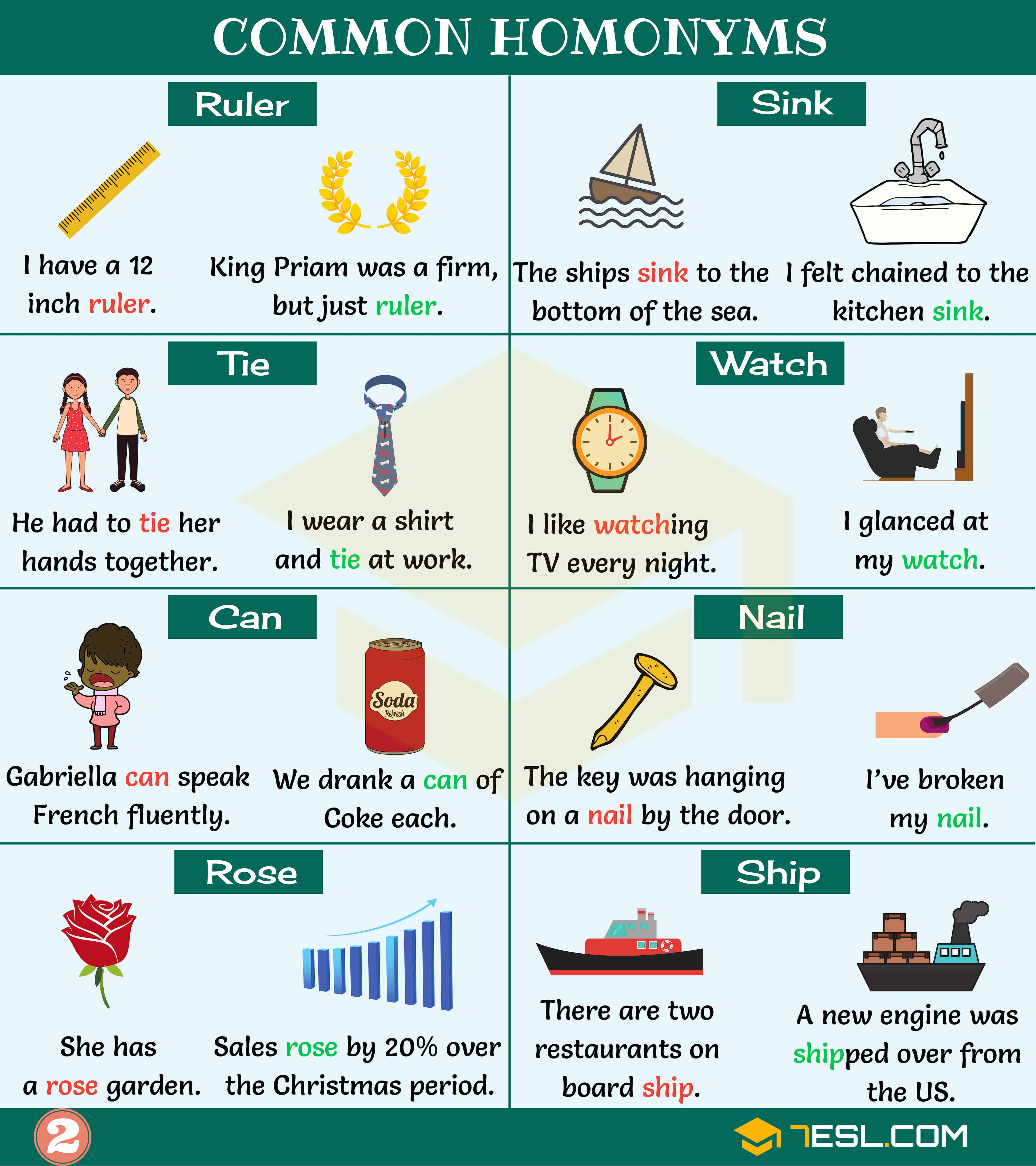 Homonyms Examples   Homonyms List   Image 1