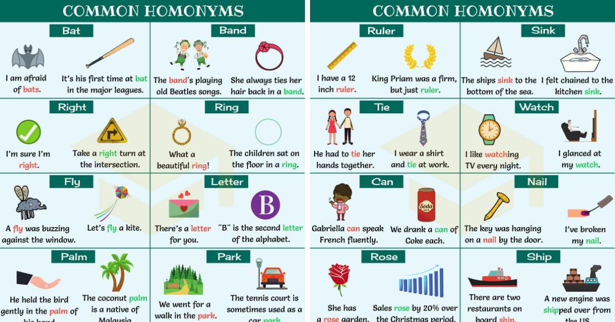 Homonym: List Of 300+ Homonyms In English With Examples - 7 E S L