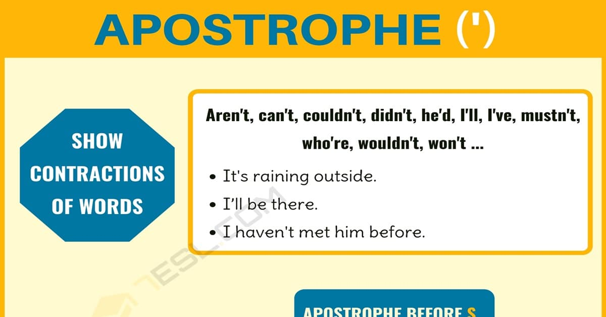 Apostrophe (') When to Use an Apostrophe with Important Apostrophe Rules 1
