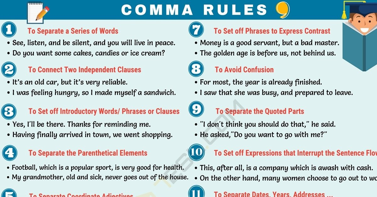 13 Important Comma Rules | When to Use Commas (,) in ...