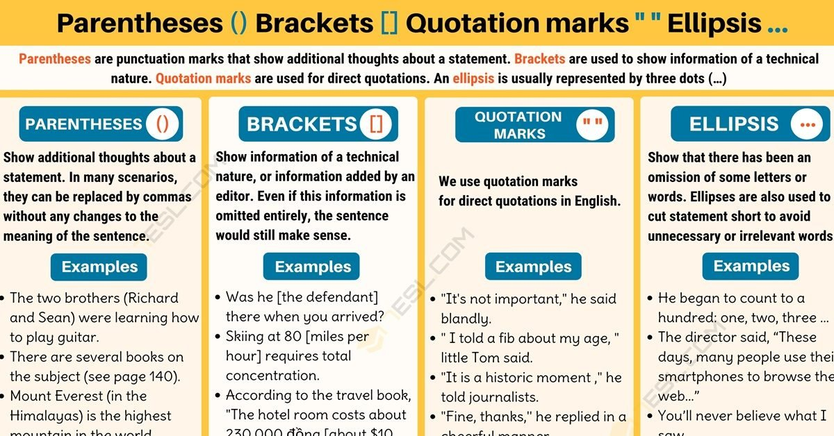 "Parentheses () Brackets [] Quotation marks "" "" Ellipsis … 1"