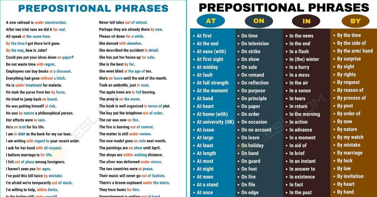600+ Useful Prepositional Phrase Examples in English 1