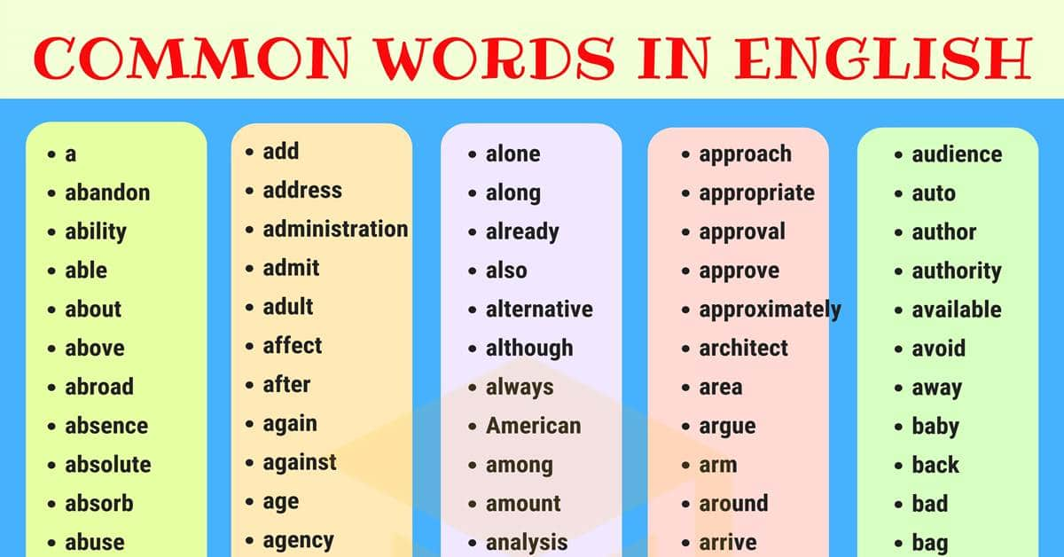 What are the most common vocabulary words used in English ...  |Most Common English Words