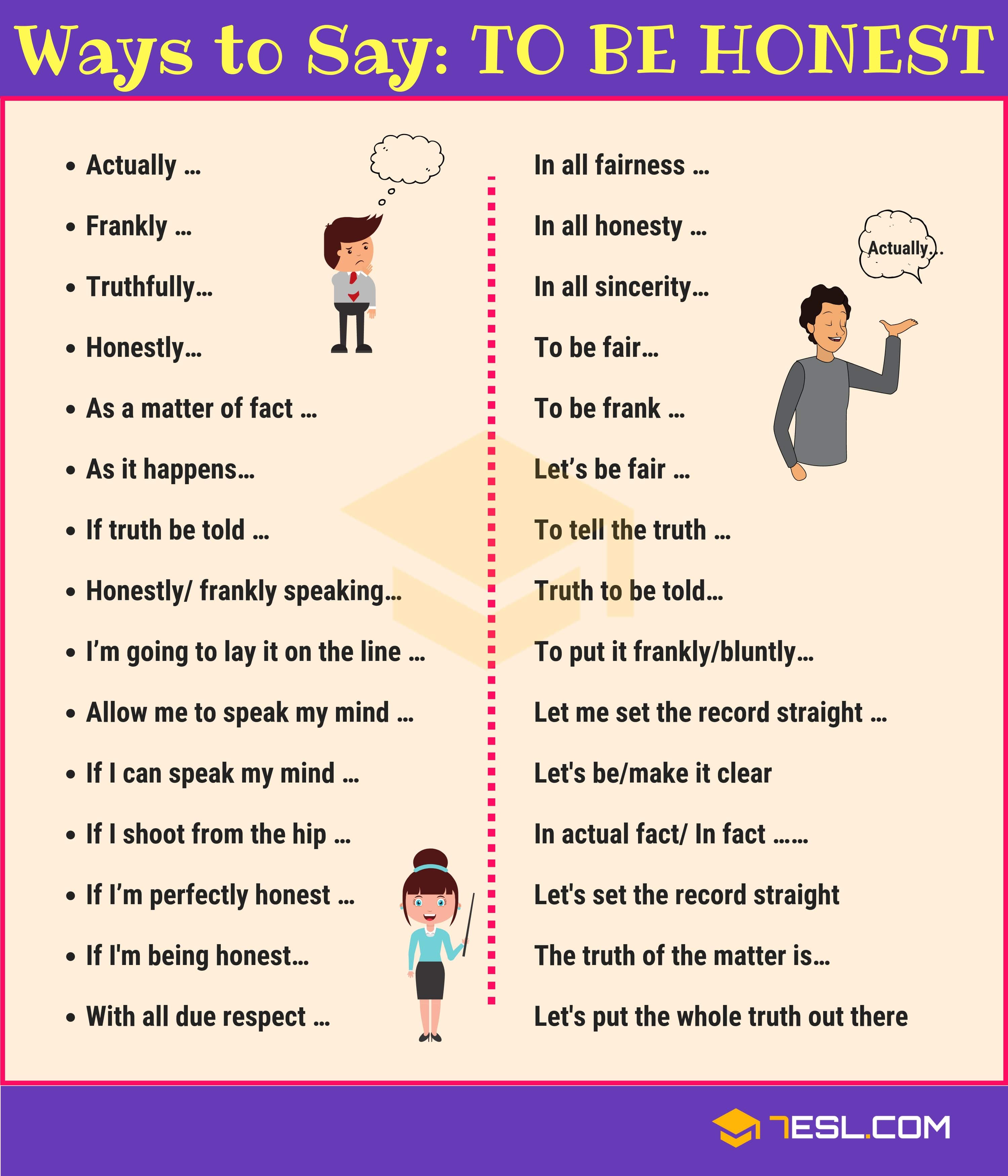 "Other Ways to Say ""To be Honest"" in English"