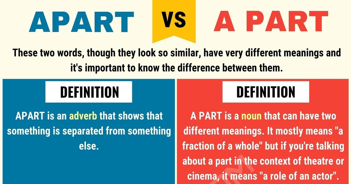 apart vs a part  when to use apart vs a part with useful