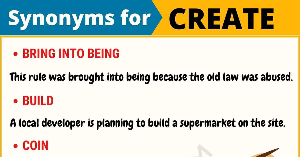 CREATE Synonym: List of 55+ Useful Synonyms for Create 1