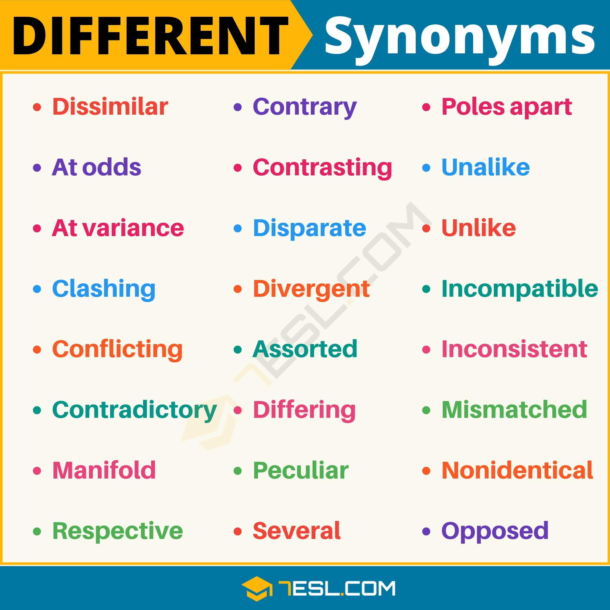 DIFFERENT Synonym: List of 25 Useful Synonyms for Different - 7 E S L