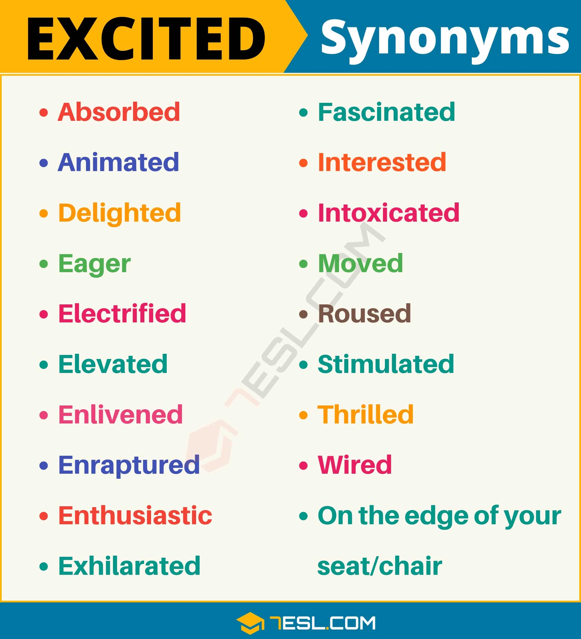 EXCITED Synonym: Useful List of 19 Synonyms for Excited in English