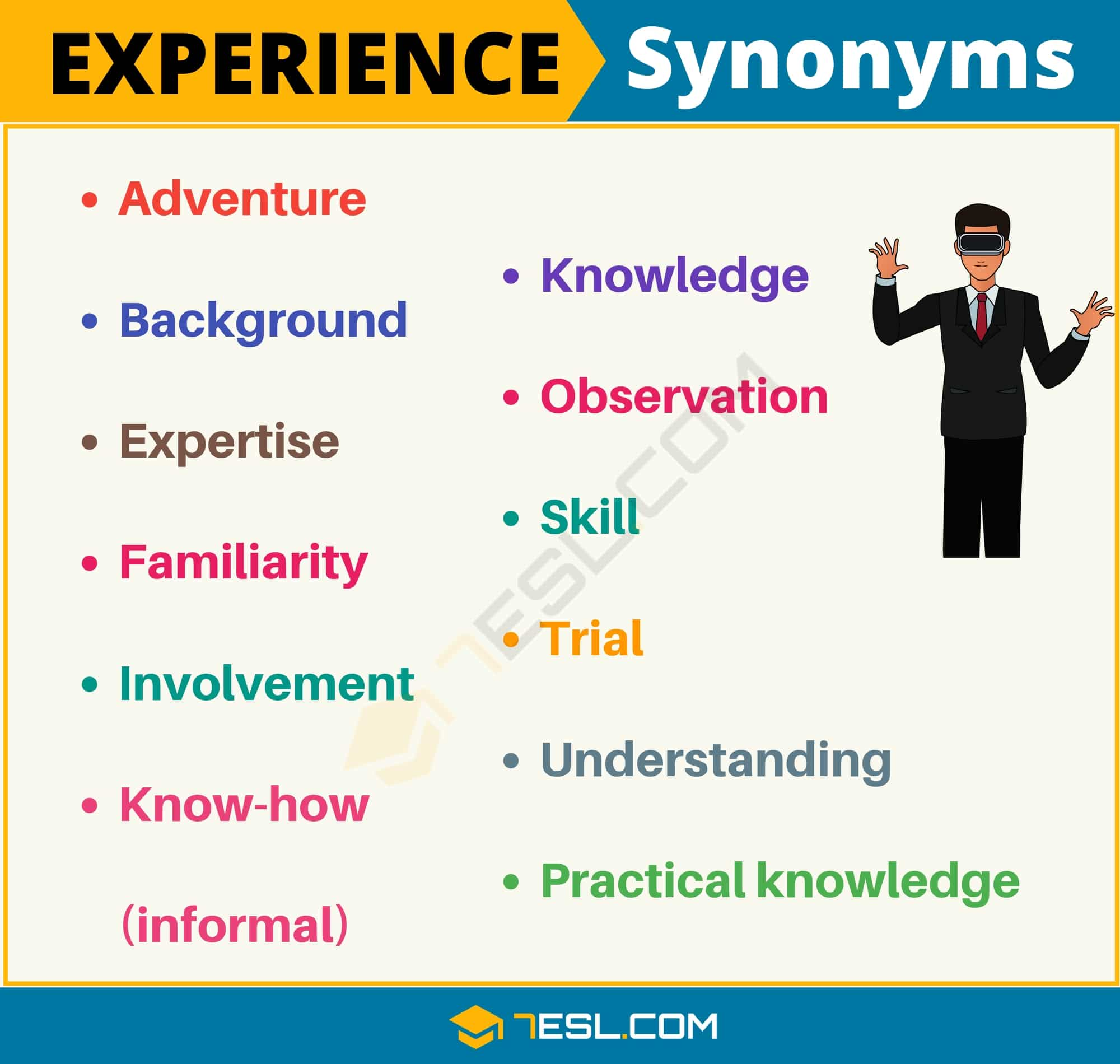 EXPERIENCE Synonym | List of 12 Useful Synonyms for Experience in English