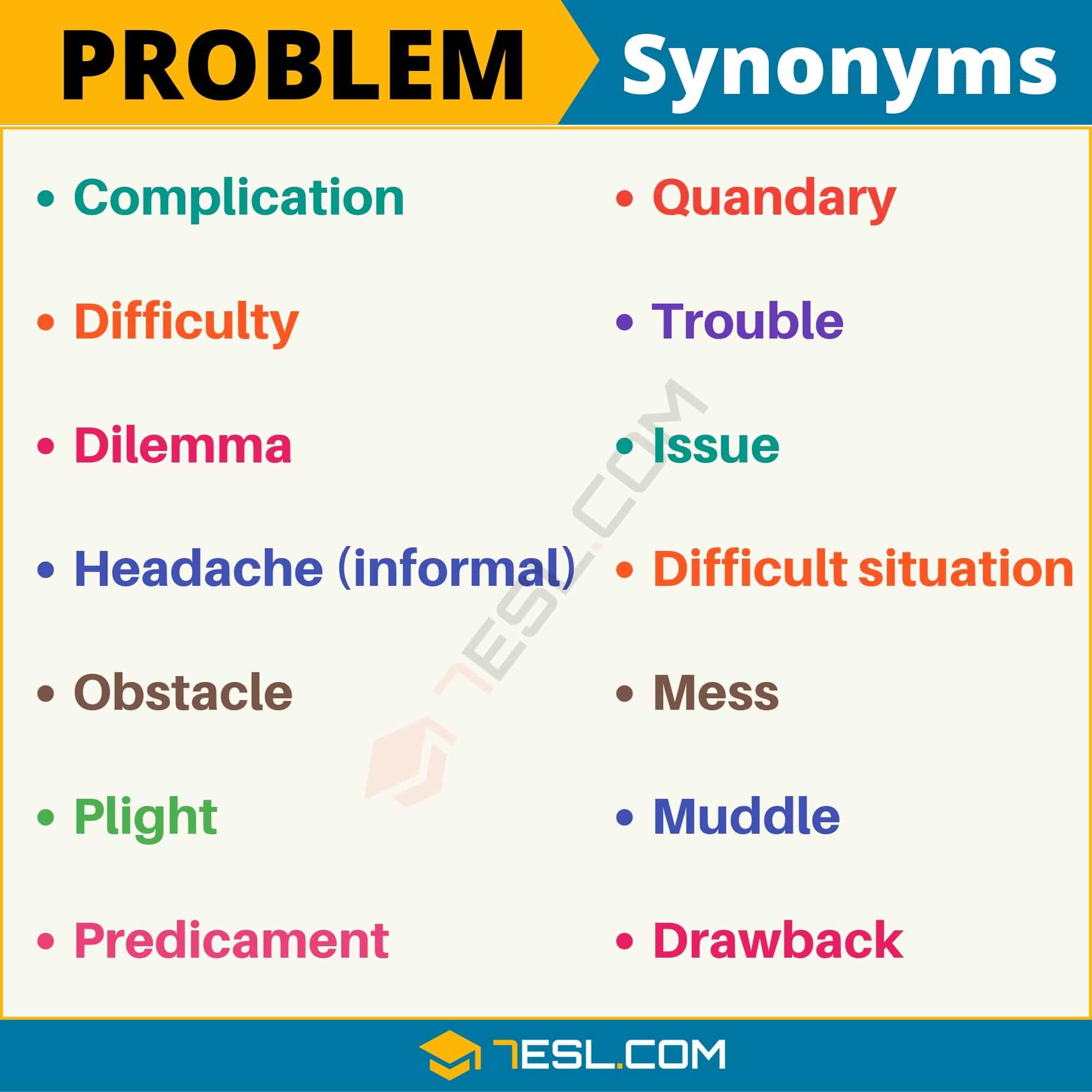 PROBLEM Synonym: List of 14 Synonyms for Problem in English