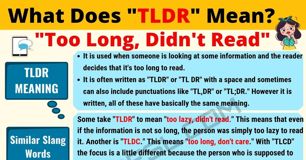 TLDR Meaning: What Does TLDR Mean? Useful Text Conversations 1