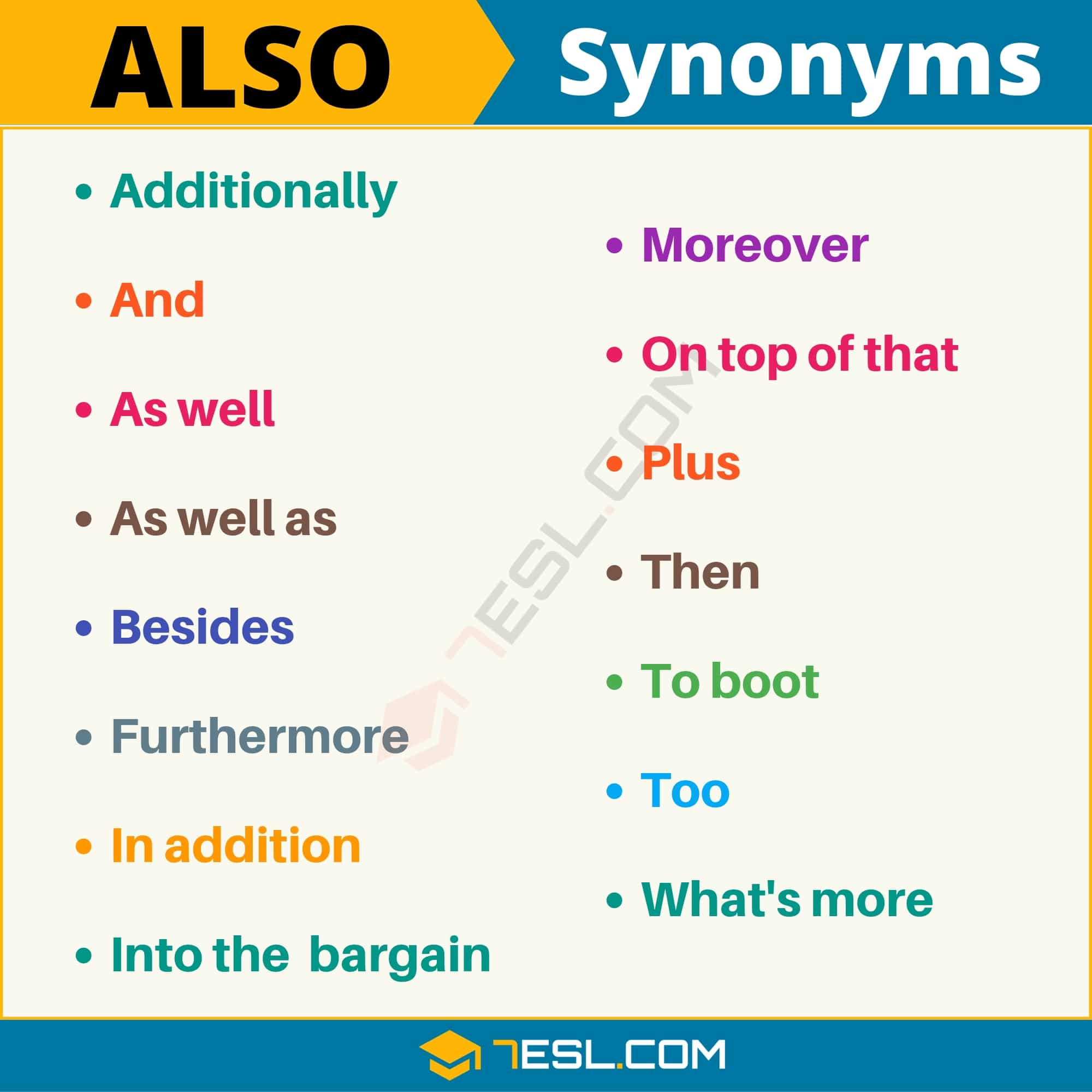 ALSO Synonym: List of 15 Synonyms for Also with Examples