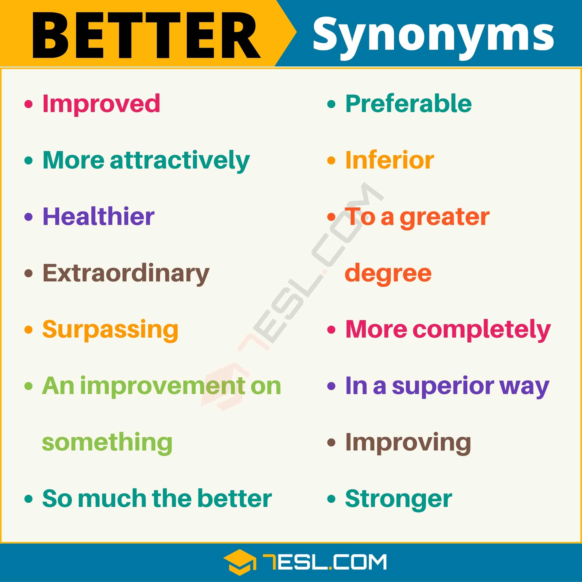 BETTER Synonym: List of 14 Synonyms for Better in English