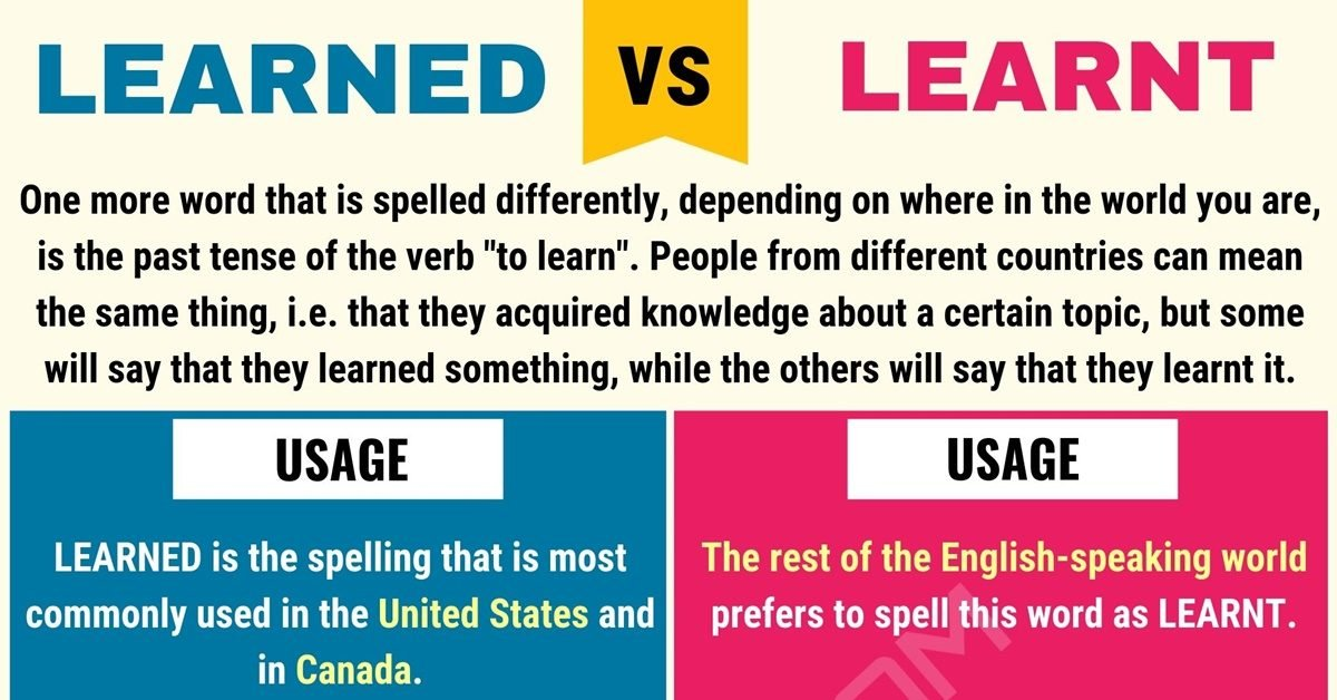 Learnt vs Learned