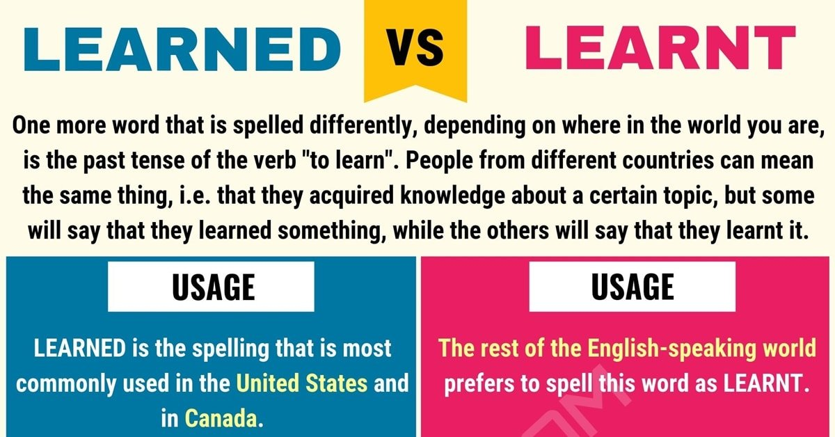 learnt vs learned  when to use learned vs learnt  with
