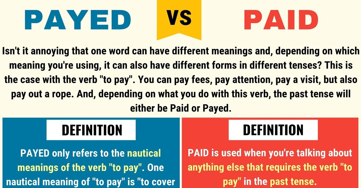 Payed vs Paid