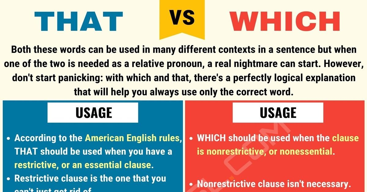 That Vs Which When To Use Which Vs That With Useful Examples 7 E S L