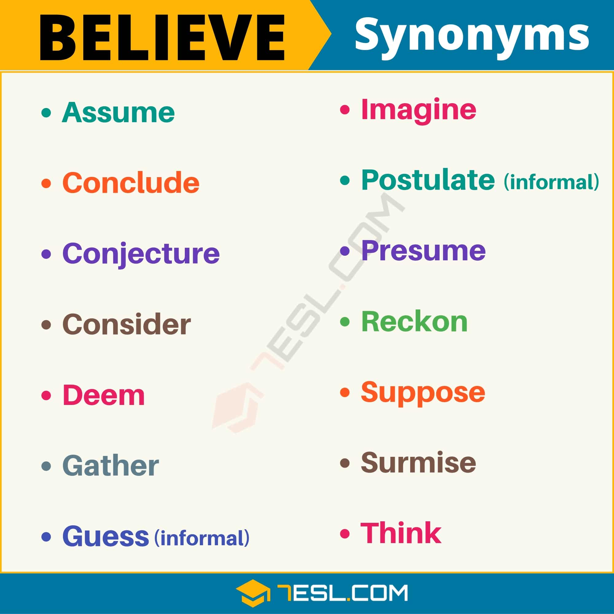 BELIEVE Synonym: List of 14 Synonyms for Believe with Useful Examples