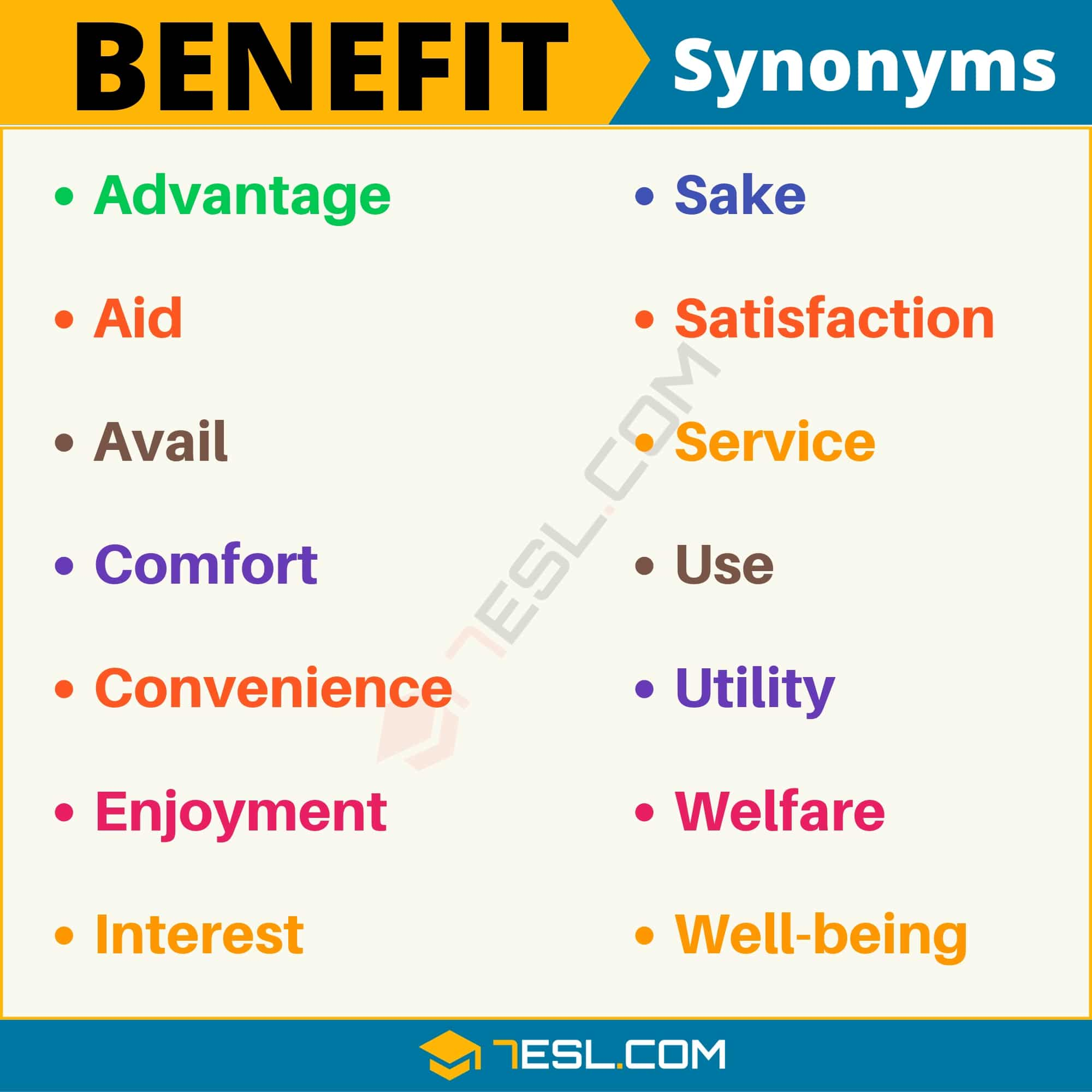 BENEFIT Synonym: List of 14 Synonyms for Benefit (with Useful Examples)