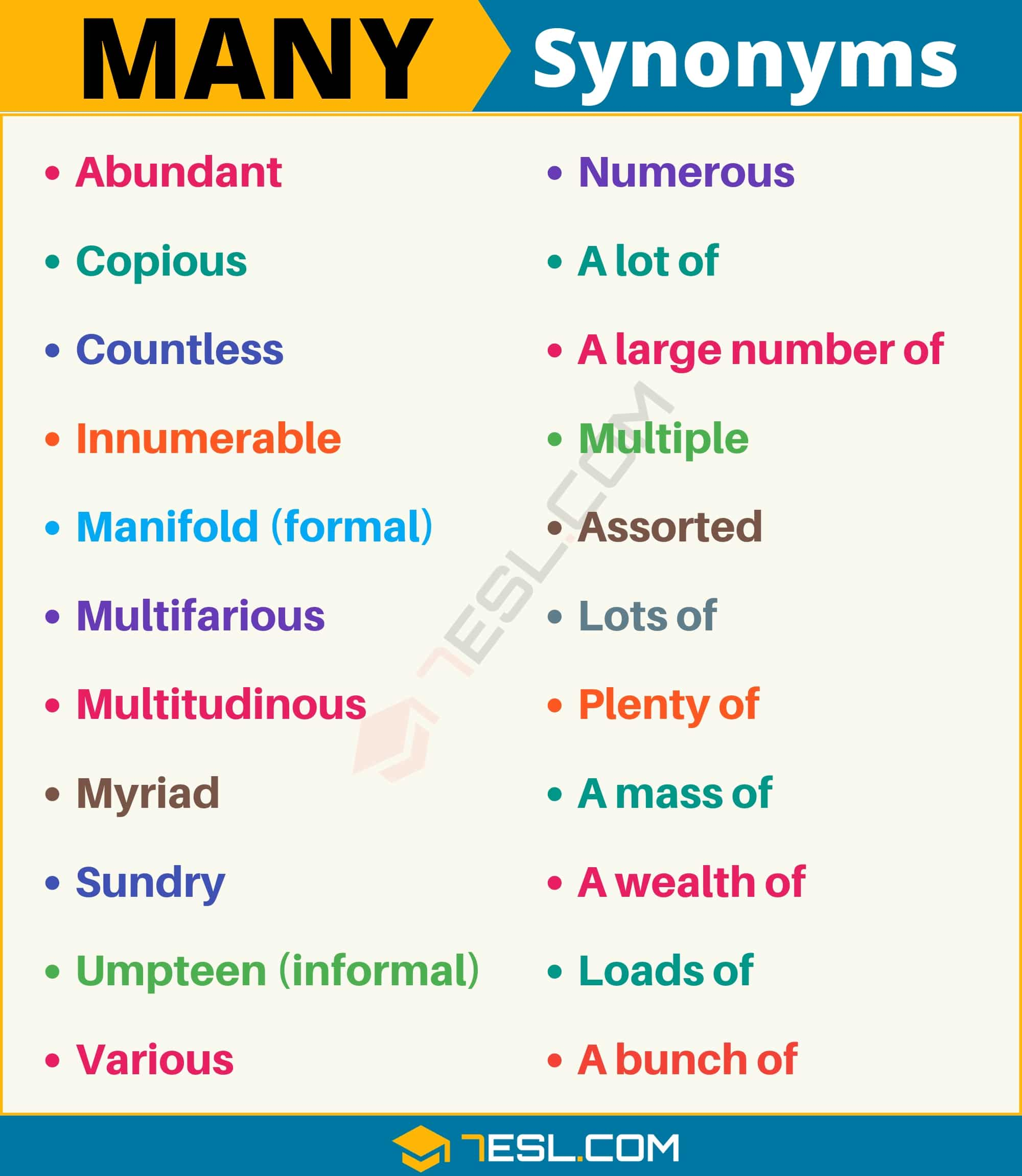 MANY Synonym: List of 22 Synonyms for Many with Useful Examples