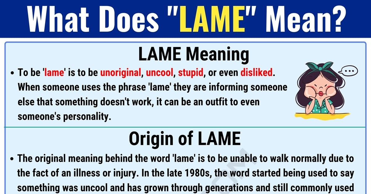 Lame Meaning: What Does Lame Mean? with Useful Examples 1