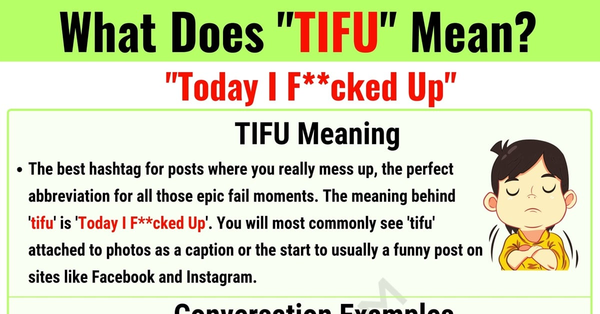 TIFU Meaning: What Does TIFU Mean and Stand for? 1
