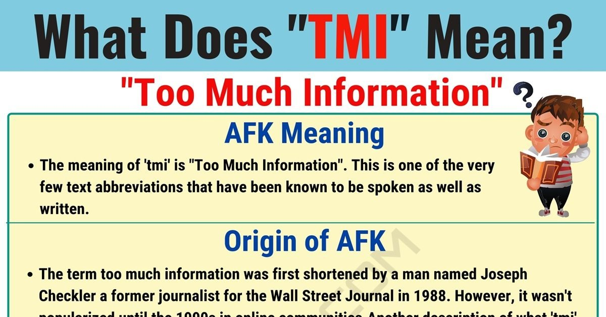 TMI Meaning: What Does TMI Mean and Stand for? 1