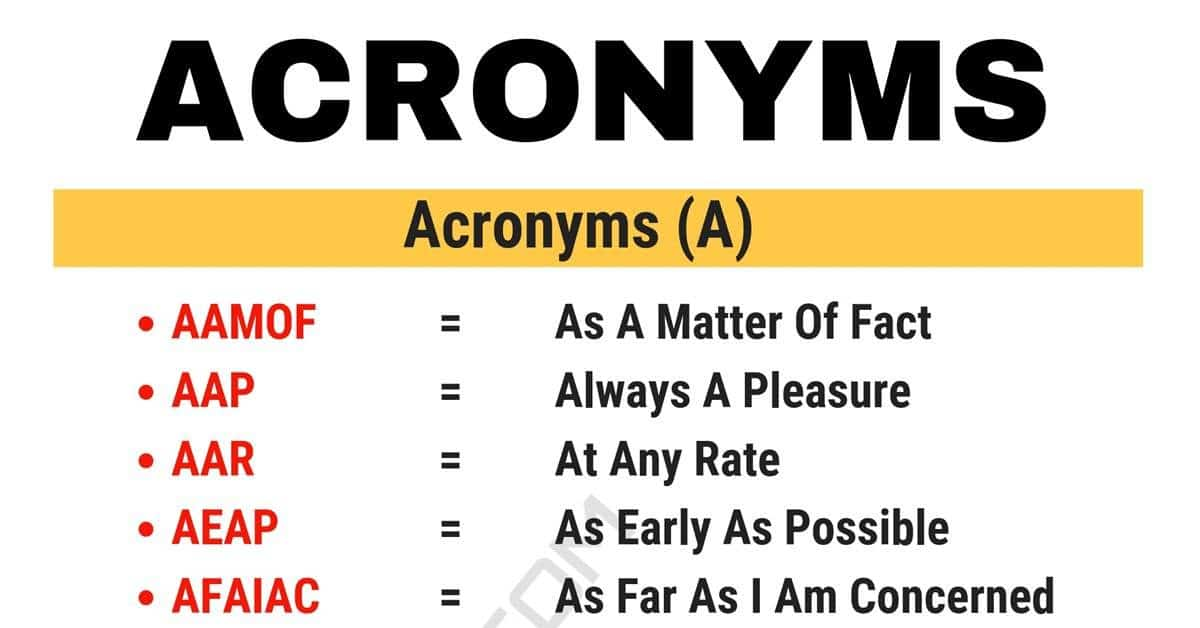 Acronym Definition & 3000+ Acronyms List from A-Z 1