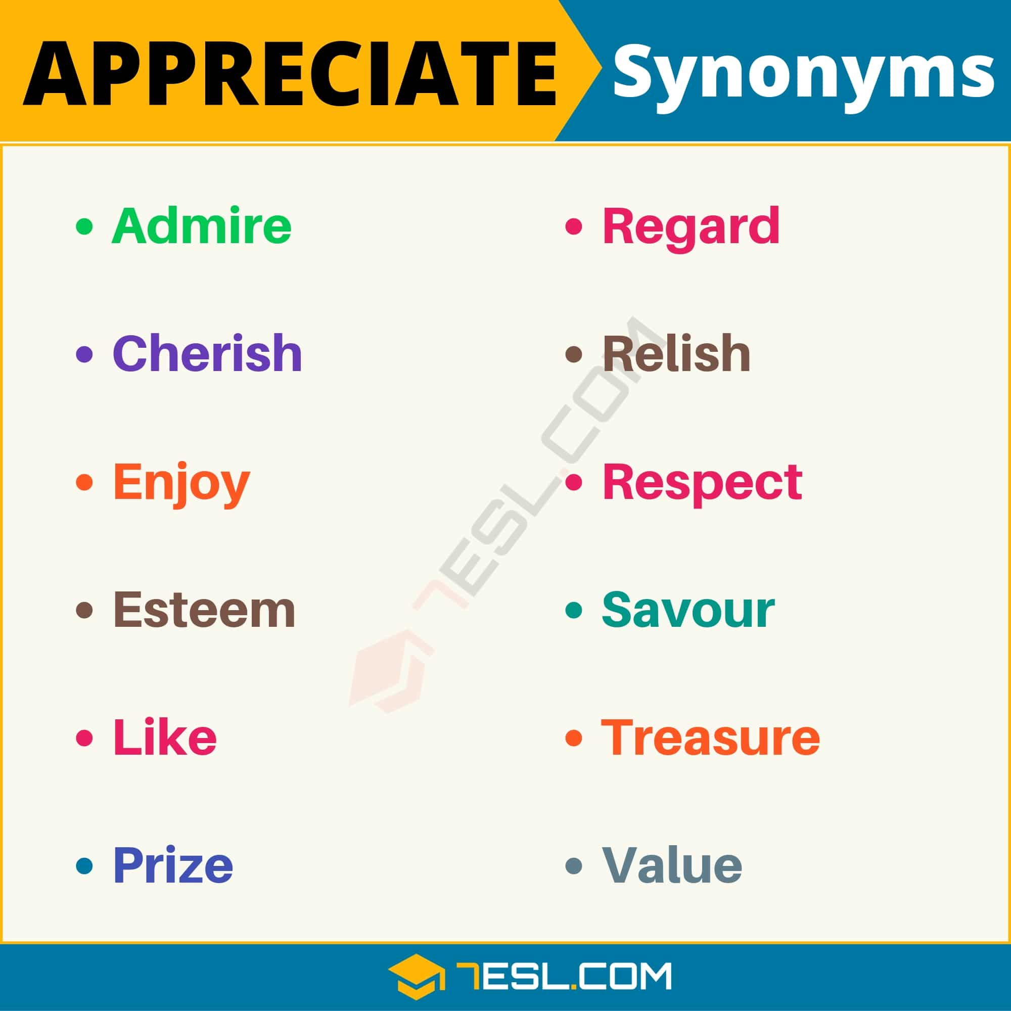 APPRECIATE Synonym: List of 12 Synonyms for Appreciate with Useful Examples
