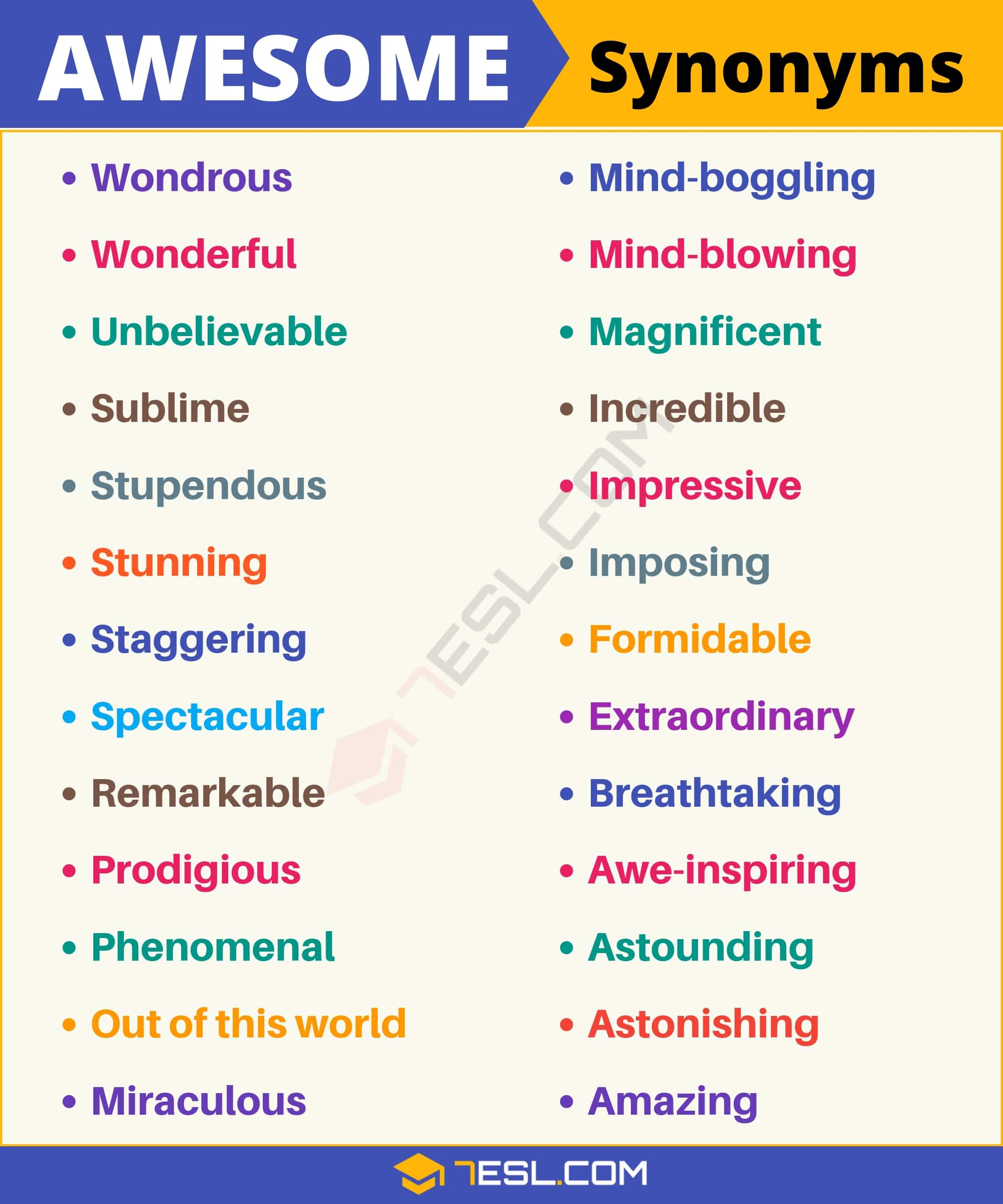 AWESOME Synonym: List of 26 Synonyms for Awesome with Examples