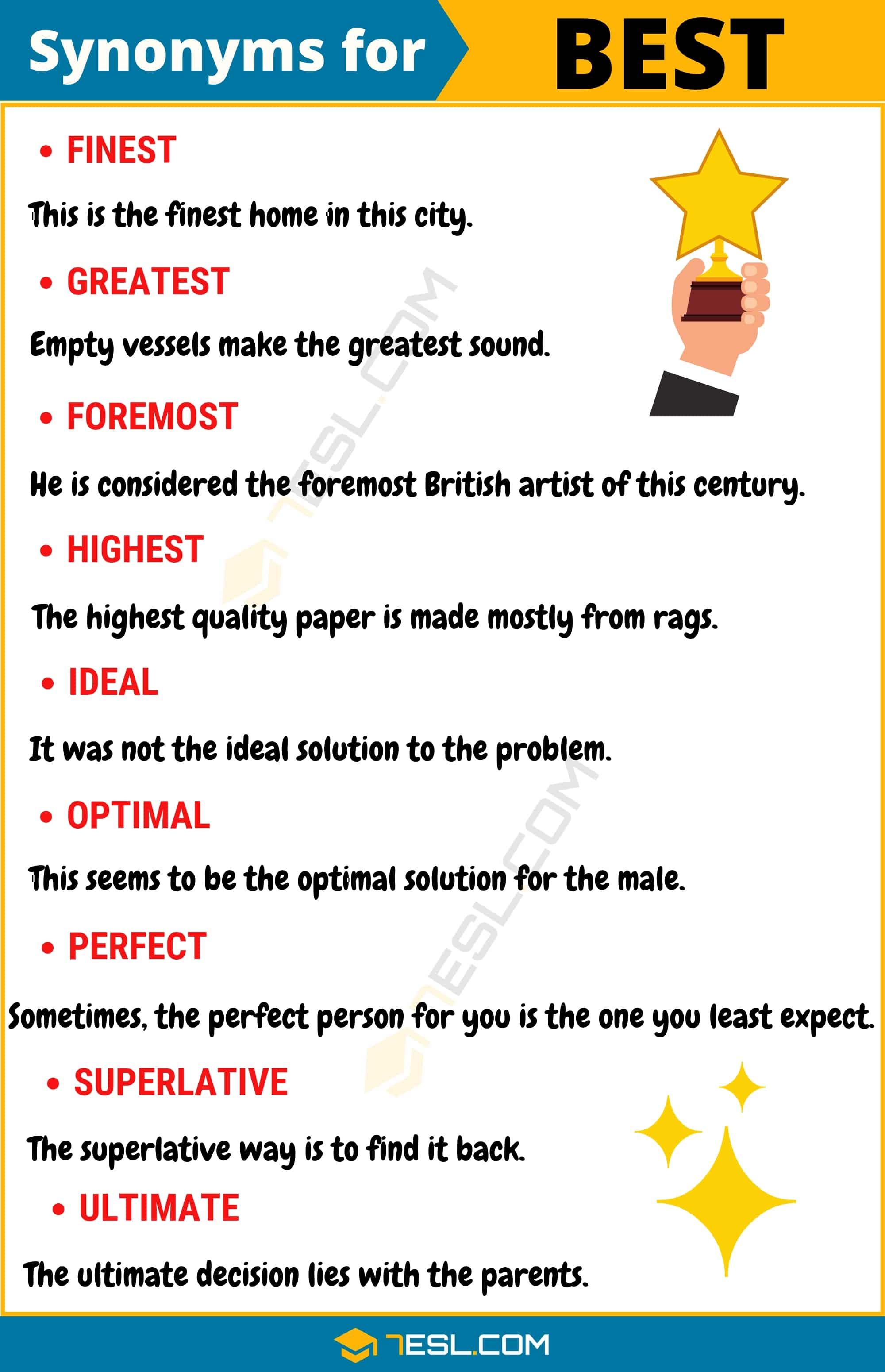 BEST Synonym: List of 14 Synonyms for Best with Example Sentences