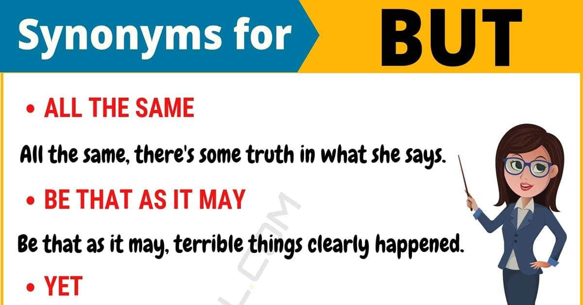 BUT Synonym: List of 12 Synonyms for But with Useful Examples 1