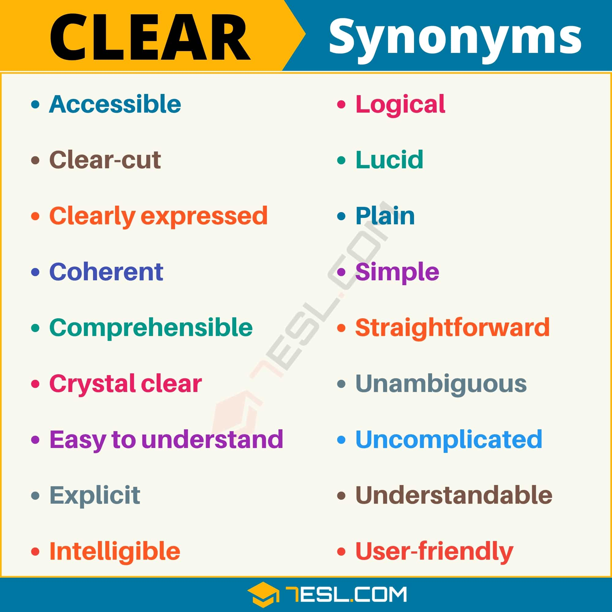 CLEAR Synonym: List of 18 Synonyms for Clear in English